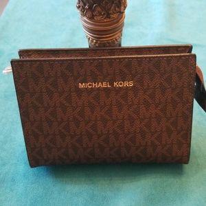 "Michael Kors Brown Logo Small Cosmetic Bag 6""X4X2"""